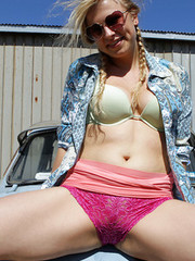 Hairy amateur blonde Gretel teasing outdoors