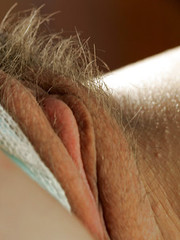 Busty natural amateur Angie toying hairy pussy